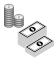money isolate on white vector image