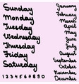 names days of the week and months vector image vector image