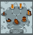 octoberfest color concept isometric icons vector image vector image