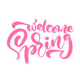 pink calligraphy lettering phrase welcome spring vector image vector image