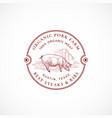 pork farm framed retro badge or logo template vector image