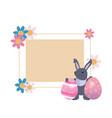 rabbit egg label easter vector image vector image