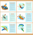 rafting and parkour in city motorbike riding set vector image vector image