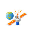 satellite and earth posotioning vector image