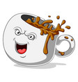 scary coffee cup cartoon character vector image