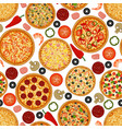 seamless pattern with pizza and ingredients vector image vector image