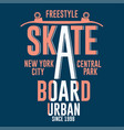skateboarding new york t-shirt graphic design vector image vector image