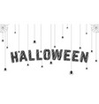 sketch text with spider like happy halloween vector image
