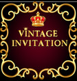 vintage background frame with gold ornament vector image vector image