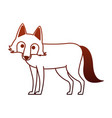 wolf wild animal on red lines vector image