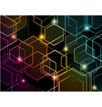 Hexagon colorful neon background vector image