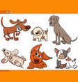 funny cartoon dog characters collection vector image