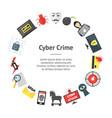 cartoon cyber crime security banner card circle vector image