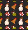 funny snowman christmas tree cookie and gift box vector image
