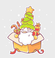 santa claus sitting in yellow gift box on vector image