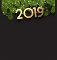 black 2019 new year background with fir branches vector image vector image