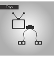 black and white style toy TV game console vector image vector image