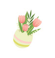 bouquet of tulips in vase hello spring floral vector image vector image