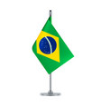 brazilian flag hanging on the metallic pole vector image