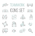 Business teamwork teambuilding outline icons vector image vector image
