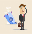 businessman and rocket crashed business failure vector image