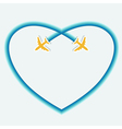 card with two planes untraceable side blue heart vector image