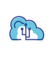 cloud computing with usb symbol vector image vector image