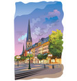colorful view of the church hauptkirche sankt vector image vector image