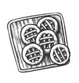 cookies on wooden cutting board monochrome vector image vector image