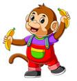 cute monkey holding two banana vector image