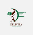 delivery logo design man bring box vector image vector image