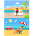 distant work sea collection vector image vector image
