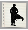 Doodle superhero silhouette vector image vector image