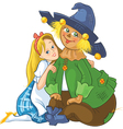 dorothy and scarecrow wizard oz cartoon vector image vector image
