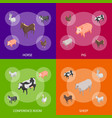 farm animals 3d banner set isometric view vector image