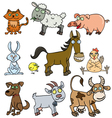 Farm animals doodle vector image