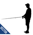 fisherman silhouette on white vector image vector image