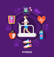 fitness round composition vector image vector image