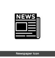 flat black newspaper icon vector image