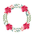 floral wreath flower decoration white background vector image