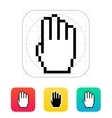 Four fingers Pixel hand cursor icon vector image vector image