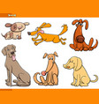 funny dogs cartoon characters set vector image vector image