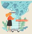 girl shopping online vector image