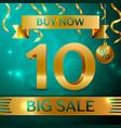 gold big sale ten percent for discount vector image