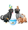 group cute animals isolated on white background vector image vector image