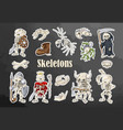 halloween skeletons art stickers set cartoon hand vector image