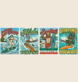 hawaii surfing vintage colorful posters vector image