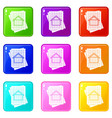 house blueprint icons 9 set vector image vector image