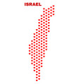 israel map - mosaic of lovely hearts vector image vector image