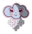 kawaii happy cloud raining with big eyes and vector image vector image